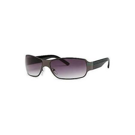 Mens Womens Rectangle Metal Black Frame Black Lens Sunglasses Shades (Metal Lens Shade)