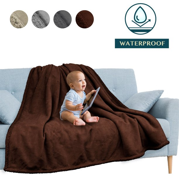 PAVILIA Waterproof Blanket Throw Brown | Waterproof Pet Blanket for Dog Couch Protection | Leak Proof Sherpa Fleece Blanket for Bed Sofa | Liquid Resistant Large Soft Plush Throw 60x80 Inches