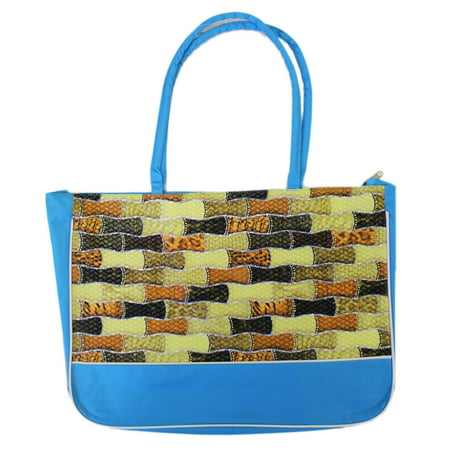 Bamboo Tote Bag (Textured Bamboo Looking Pattern Light Blue Canvas Tote Bag )