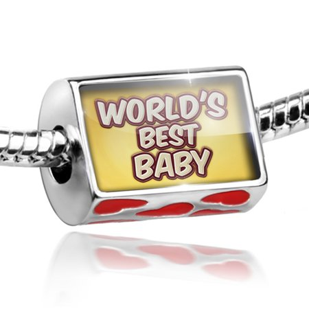 Bead Worlds best Baby, happy yellow Charm Fits All European