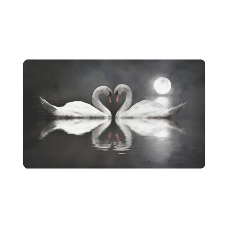 MKHERT Romantic Swan Couple Love Moon Night Doormat Rug Home Decor Floor Mat Bath Mat 30x18 inch