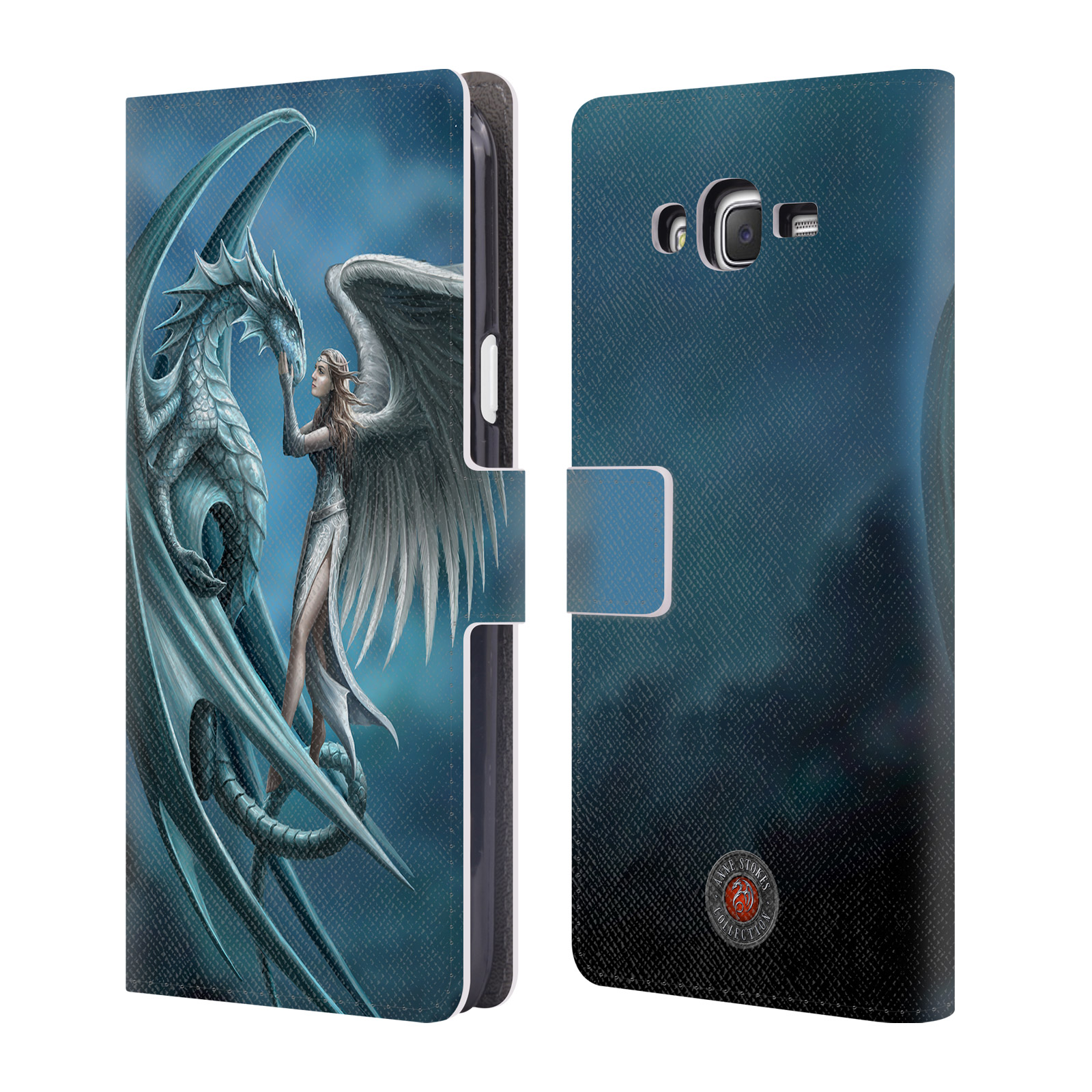 OFFICIAL ANNE STOKES DRAGON FRIENDSHIP LEATHER BOOK WALLET CASE COVER FOR SAMSUNG PHONES 3