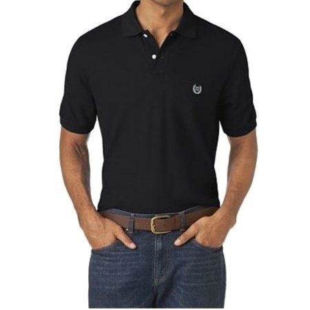 Chaps NEW Black Mens Size Large L Short Sleeve Solid Polo Rugby Shirt