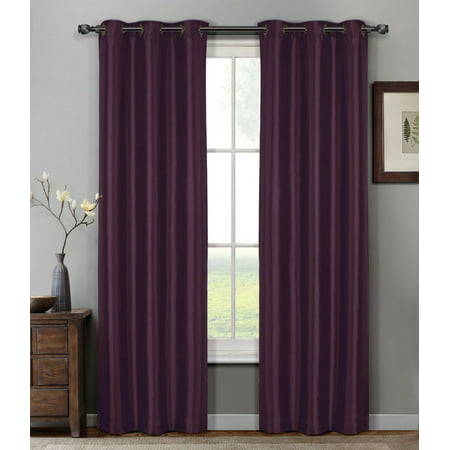 - 1 PANEL Nancy  SOLID PLUM  SEMI SHEER WINDOW FAUX SILK ANTIQUE BRONZE GROMMETS CURTAIN DRAPES 55 WIDE X 84