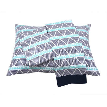 Bacati - Aztec/Tribal Aqua/Navy 3-Piece 100% Cotton breathable Muslin Toddler Bedding Sheet Set, Large Triangles