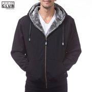 Pro Club Men's Heavy Weight Pile Full Zip Jacket Fur Hoodie Black/Gray
