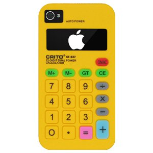iPhone 4/4s Case, Premium Calculator Style Silicone Skin Back Case Protective Flexible Cover for iPhone 4/4s - Yellow
