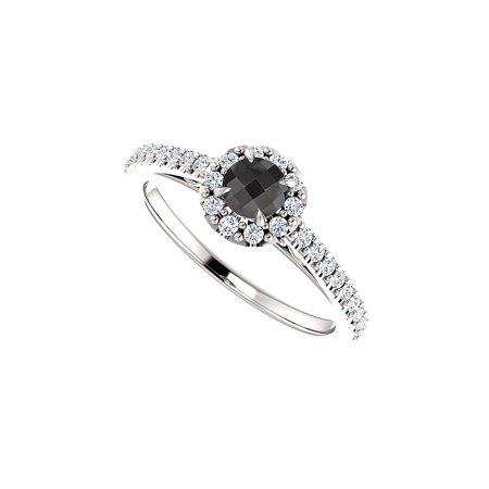 Round Black Onyx CZ Halo Style Ring in 14K White Gold - image 1 de 2