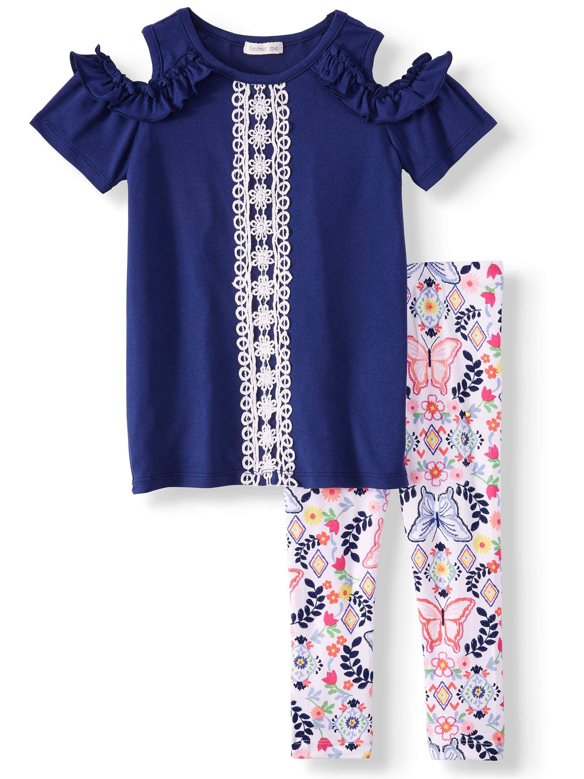 Crochet Trim Cold Shoulder Tunic and Legging, 2-Piece Outfit Set (Little Girls & Big Girls)