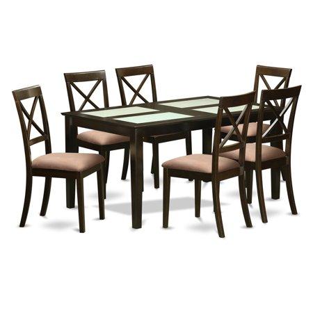 East West Furniture Capri 7 Piece Crossback Glass Top Dining Table Set - Walmart.com
