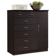 Pemberly Row Tall 7 Drawer Chest with 2 Locking Drawers and Garment Rod or Extra Storage in Chocolate