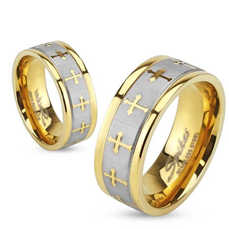 8mm Celtic Cross Gold IP Stainless Steel Ring w/ Brushed Center Two Tone Ring (SIZE: -