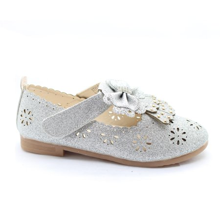 Little Girls Silver Glitter Floral Cut-Out Bow Adorned Dress Shoes - Silver Girls Shoes