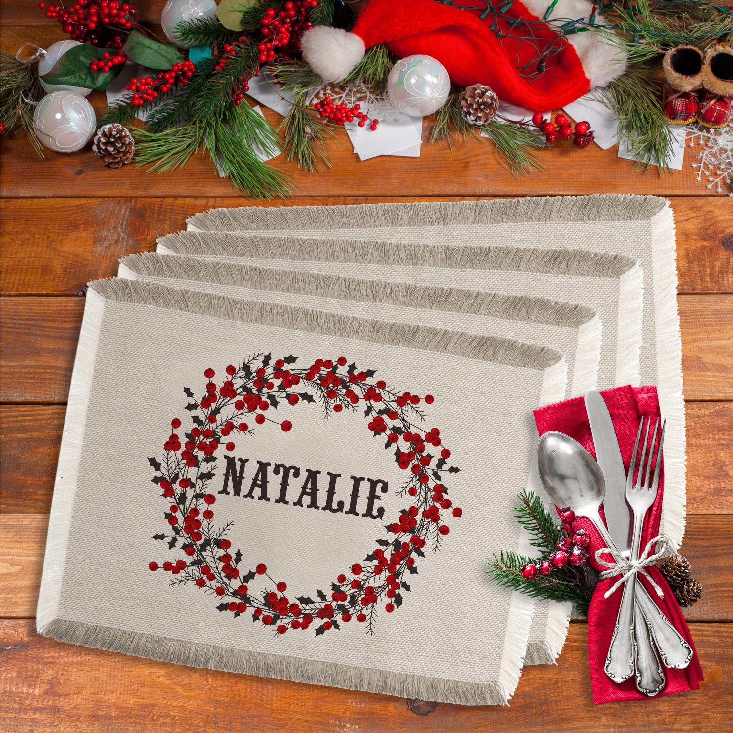 "Personalized Winter Berry Christmas 19""Lx14""W Placemat"