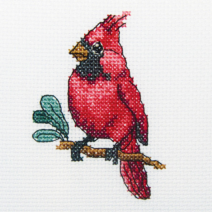 "Cardinal Bird Counted Cross Stitch Kit, 4"" x 4"", 14 Count"