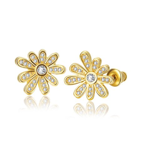 Aventura Jewellery 18K Rose Gold  Flower Petals Stud Earrings Made with Cubic Zircon ()