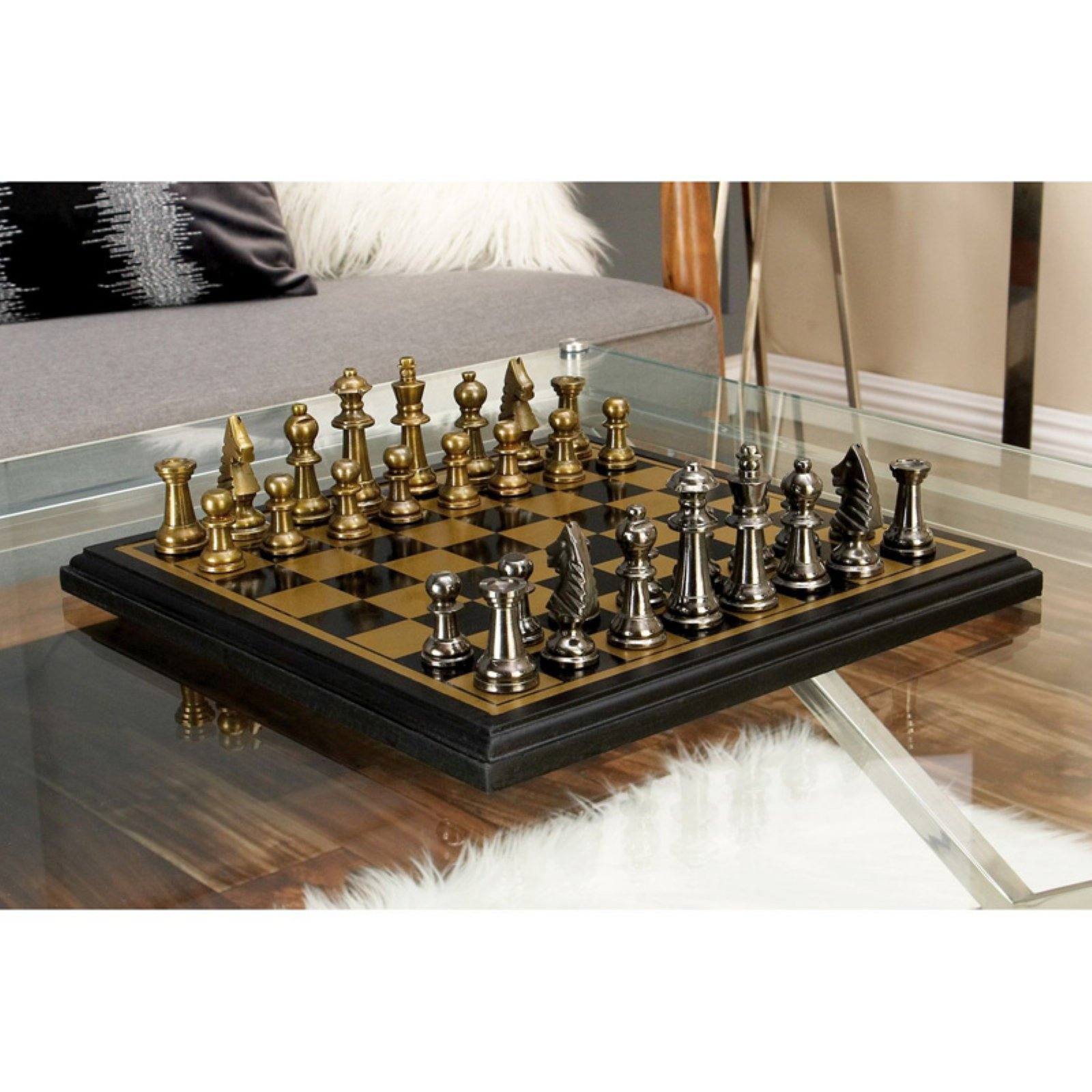 Decmode Aluminum Wood Chess Set, Multi Color by DecMode