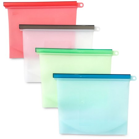[Large Size] Reusable Silicone Food Storage Bags, 50 OZ/1.5L/6 cups, Airtight Zip Seal Versatile Bags for Cooking, Fruit, Leftover, Lunch, Snack, Sandwich, Sous Vide, Soup. (Set of 4)](Halloween Food Ideas With Fruit)