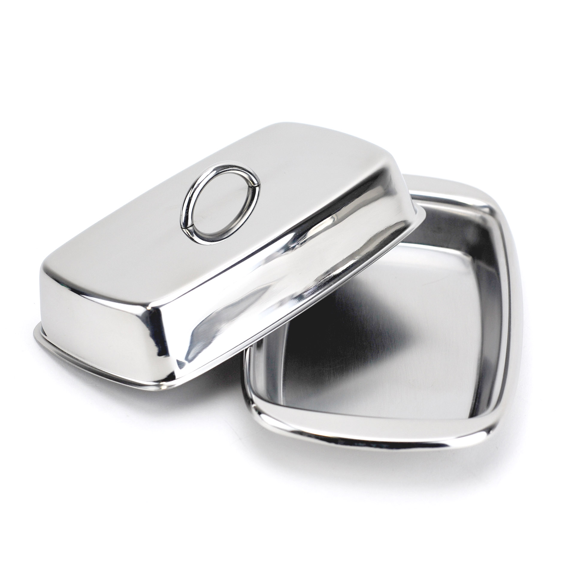 Covered Butter Dish, Cute Country Stainless Steel French Butter Dish, Silver
