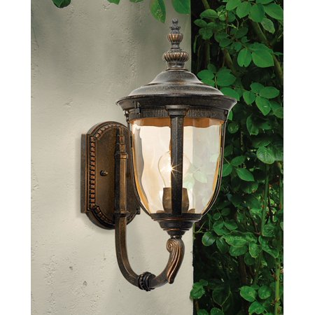 John Timberland Bronze Outdoor Wall Light Vintage Curved Arm Sconce Fixture for Exterior House Patio (Cache Bisque Brick Ceramic Outdoor Wall Sconce)