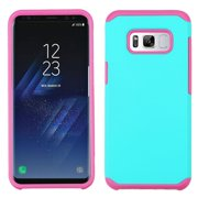 Insten Dual Layer [Shock Absorbing] Hybrid Rubber Coated Hard Plastic/Soft Silicone Case Phone Cover For Samsung Galaxy S8, Teal/Hot Pink