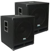 "Seismic Audio Pair of 15"" Pro Audio Subwoofer Cabinet PA DJ PRO Audio Speaker Sub woofer 300W - Baby-Tremor-PKG1"