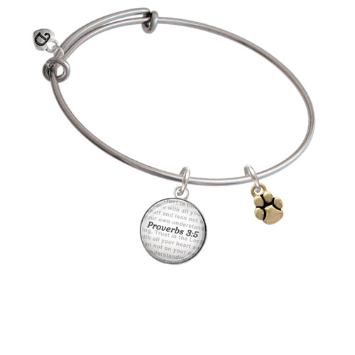 Mini Rounded Gold Tone Paw - Bible Verse Proverbs 3:5 Glass Dome Bangle Bracelet