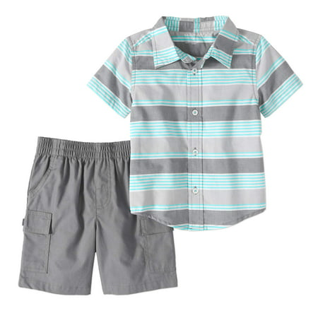 Toddler Boy Short Sleeve Woven Button-up Shirt & Cargo Shorts, 2pc Outfit Set - Boys 70s Clothes