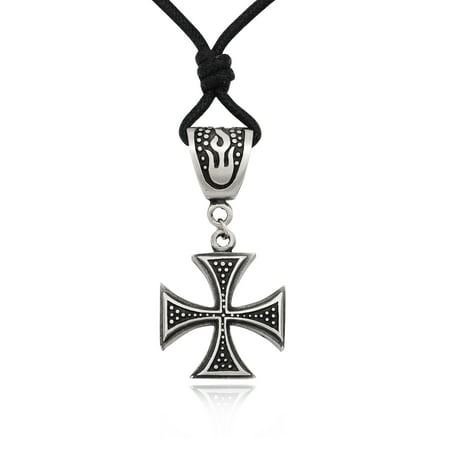 New Germanic Iron Cross Silver Pewter Charm Necklace Pendant Jewelry With Cotton Cord