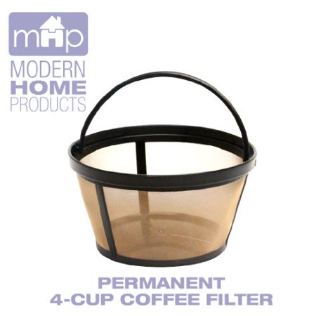 MHP Permanent 4-Cup Basket Shape Gold Tone Coffee Filter fits Mr. Coffee 4-Cup Coffeemakers ...