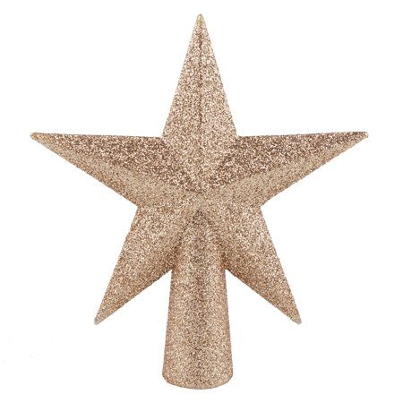 Holiday Time Gold Star Glitter Mini Tree Topper, 6""