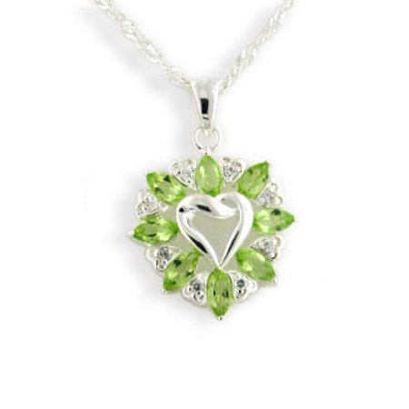 Genuine Peridot Heart Pendant - 3.6cttw Genuine Green Peridot Knotted Sterling Silver Heart Pendant with 20