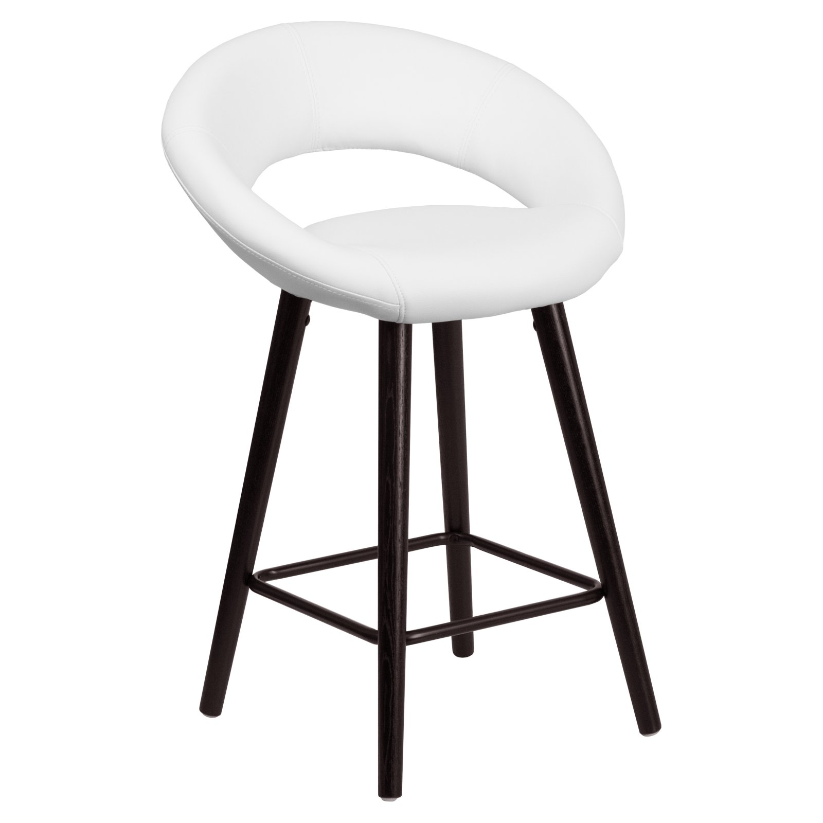 Flash Furniture Kelsey 25 in. Contemporary Rounded Keyhole Back Legged Vinyl Counter Stool