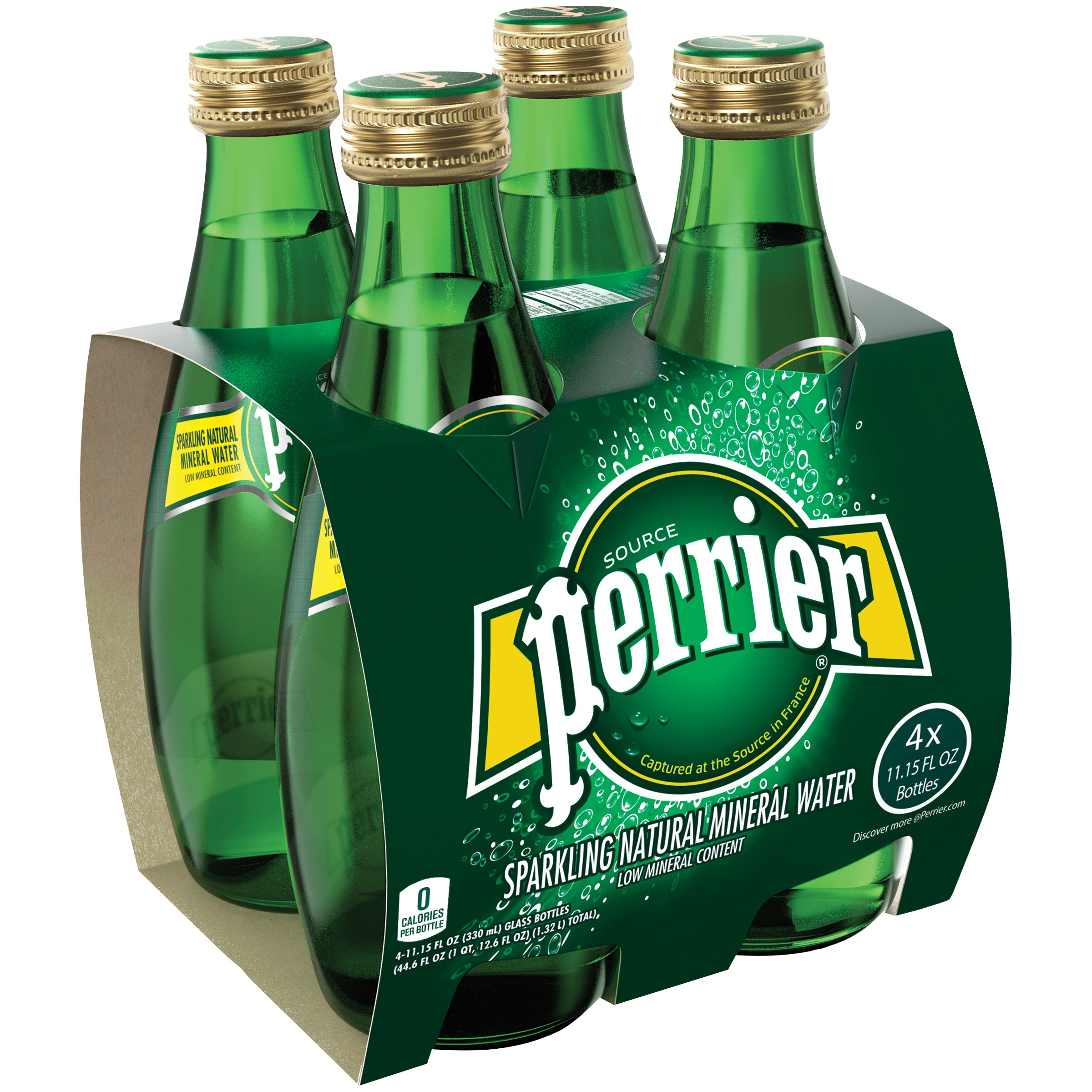 PERRIER Sparkling Natural Mineral Water, 11.15-ounce glass bottles