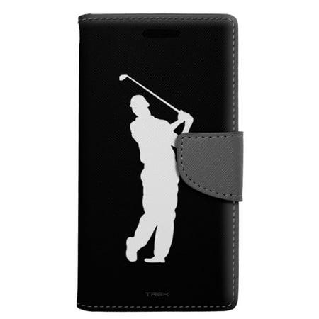 Alcatel Pop 4 Wallet Case - Silhouette Golf Player on Black Case