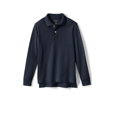Lands' End Boys School Uniform Long Sleeve Sleeve Pique Mesh Polo (Little Boys & Big Boys) Polyester Pique Mesh