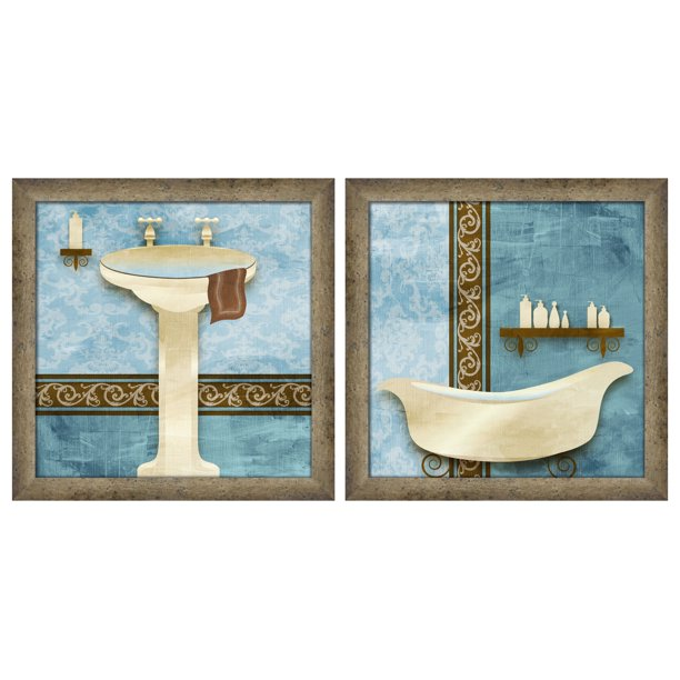 Ptm Images Blue Brown Bath Wall Art Set Walmart Com Walmart Com