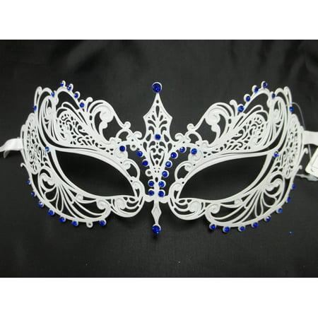 Metal Eye Mask (White Blue Crystal Beautiful Eyes  Mask Masquerade Metal)
