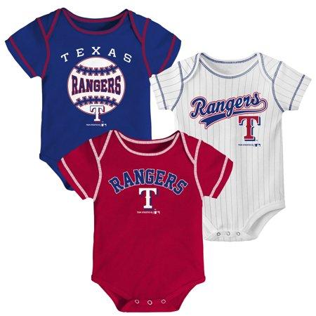 Newborn & Infant Royal/Red/White Texas Rangers 3-Pack Bodysuit Set