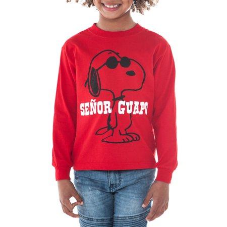 Peanuts Boys Snoopy Senor Guapo Long Sleeve Shirt Red ()