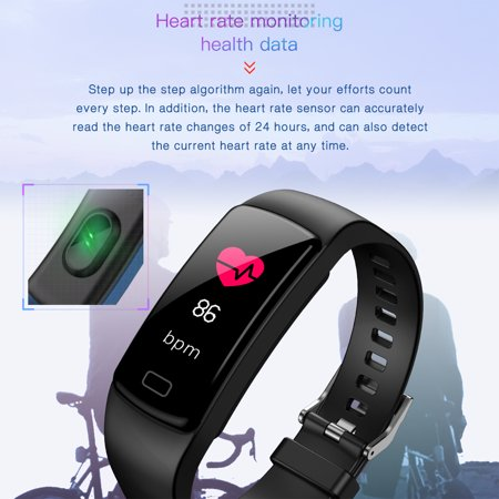 Fitness Tracker with Heart Rate Monitor Blood Pressure Smart Bracelet Color Display Sports Watch Pedometer Step Calorie for Women Men Kids - image 8 of 9