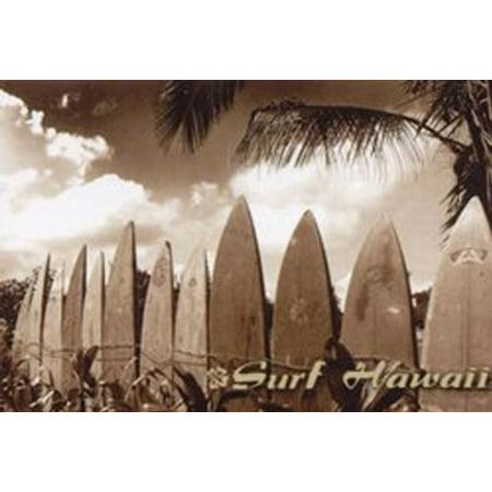 IMAGE OF HAWAIIS SURF BOARDS READY TO CATCH A WAVE CALLED Surf Hawaii by Jason Ellis 24x36 (Hawaiian Board)