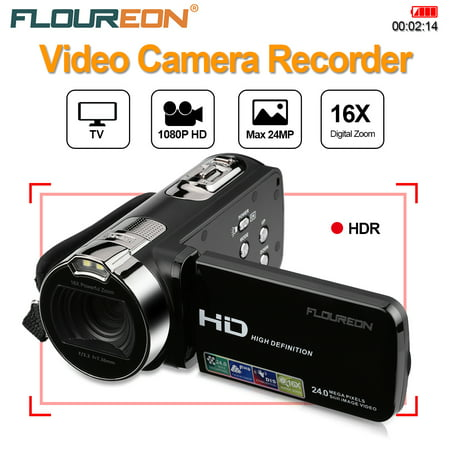FLOUREON 1080P FULL HD Camcorder Digital Video Camera DV 2.7 TFT LCD Screen 16x Zoom 270 Degrees Rotation for Sport/Youtube/Short Films Video Recording (Black)
