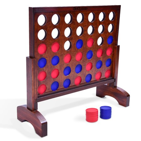 GoSports Giant Dark Wood Stain 4 in a Row Backyard Game – 2 Foot Width – With Connect Coins, Portable Case and Rules