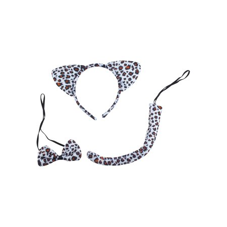 Lux Accessories Black White Spots Cheetah Ears Bowtie Tail Costume Party - The Cheetah Atlanta Halloween