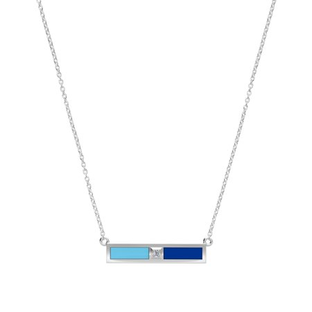 Spelman College - Diamond Bar Necklace in Light Sky Blue and Blue ()