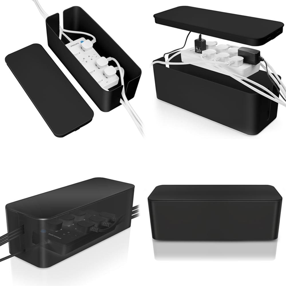 Cable Management Box Cord Organizer - Black Large 16\