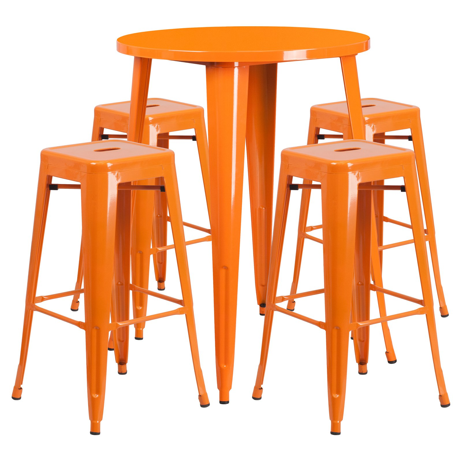 "Flash Furniture 30"" Round Metal Indoor-Outdoor Bar Table Set with 4 Square Seat Backless Barstools, Multiple Colors"