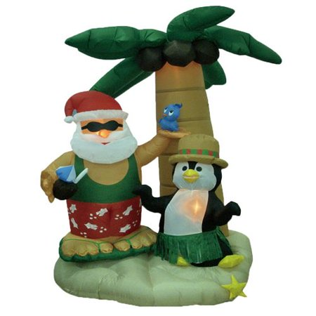 The Holiday Aisle Christmas Inflatable Santa and Penguin with Palm Tree Decoration - Christmas Penguin