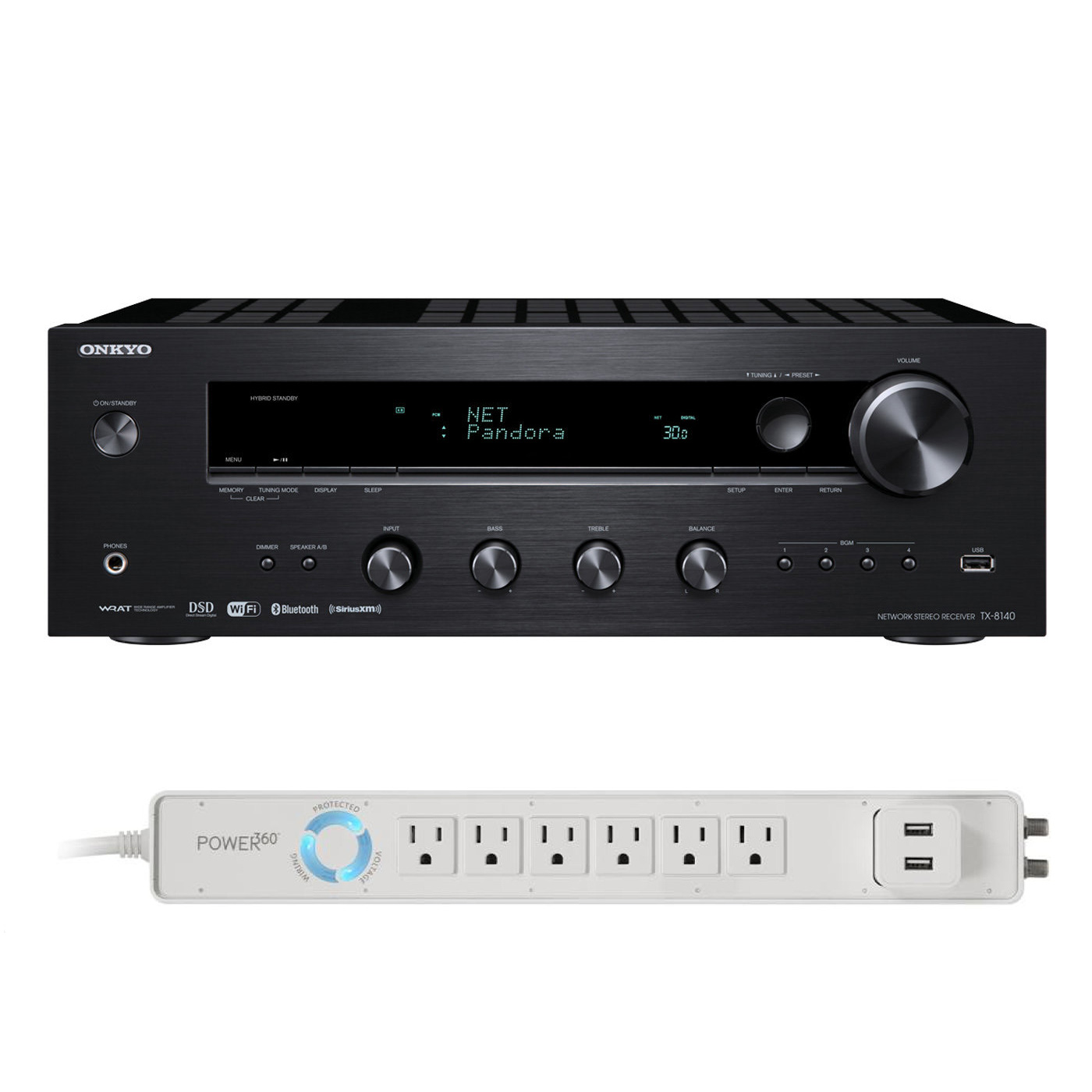 Onkyo TX-8140 Network Stereo Receiver with Built-In Wi-Fi & Bluetooth and Panamax 6-Outlet Floor Power Strip... by Onkyo